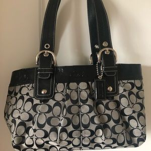 Gently Used Black Canvas Monogram Coach Bag